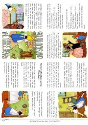 English Worksheet: The story of Goldilocks (Mini Book)