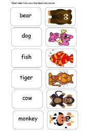 English Worksheet: Memory Game -ANIMALS