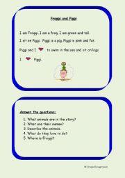 English Worksheets: Froggi and Piggi