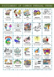English Worksheet: PICTIONARY OF COMMON PHRASAL VERBS - Set 3
