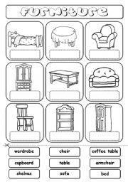 English Worksheet: Furniture (match)