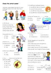 English Worksheets: revision test for 7th grades