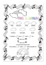 English Worksheet: Sing a Rainbow worksheet for 1st level