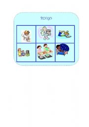 English Worksheet: Daily actions bingo