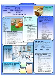 English Worksheet: The bedroom and the bathroom