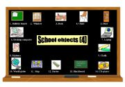 English worksheet: School objects pictionary (4) 2 pages (coloured and black & white)