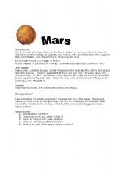 English Worksheets: Reading comprehension-Mars