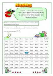 English Worksheets: Find the nouns 2