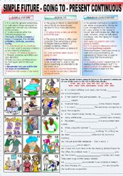 English Worksheet: SIMPLE FUTURE - GOING TO - PRESENT CONTINUOUS