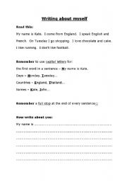 English Worksheets: Writing about myself