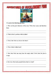 English teaching worksheets: The Adventures of Huckleberry Finn
