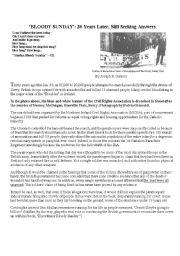 English Worksheets: Bloody Sunday press article