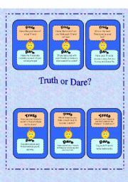 English Worksheet: Truth or Dare? - Set 1/5 with instructions