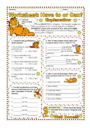English Worksheet: Worksheet: Have to or Can? (Explanation & exercise)
