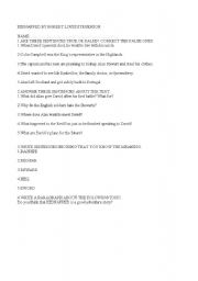 English Worksheets: COMPRENHENSION ACTIVITIES ABOUT THE GRADED BOOK KIDNAPPED BY ROBERT LOUIS STEVENSON