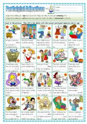 English Worksheet: Participial Adjectives 2 (Adjectives ending in ed or ing)