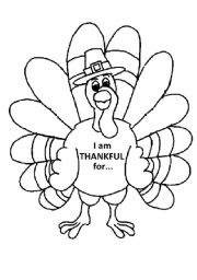 English Worksheet: Turkey Coloring Page
