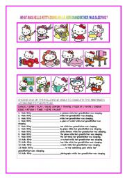 English Worksheet: What was Hello Kitty doing while her grandfather was sleeping?