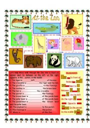 English Worksheets: Prepositions - At the Zoo