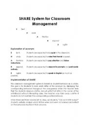 English worksheet: SHARE System for Classroom Management