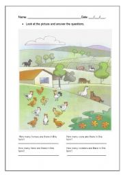 English Worksheets: Farm animals and How many