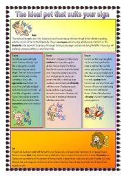 English Worksheet: Pet horoscope