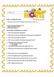 English Worksheets: The Simpsons Movie Chapters 1-8