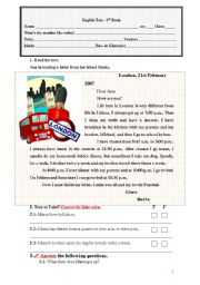 English Worksheet: english test 6th form (5 pages)