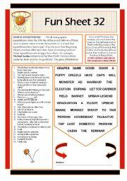 English Worksheets: Fun Sheet 32
