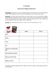 English Worksheet: Lesson plan: Writing a book review