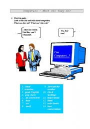English worksheet: Computers - what can they do? (Suitable for group work.)