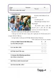 English Worksheets: revisions:likes and dislikes-reading and comprehending a tex, questions, exercises and writing a text with the given information