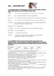 English Worksheets: Jerry Maguire film worksheet