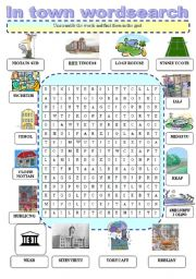 English Worksheets: In a town wordsearch