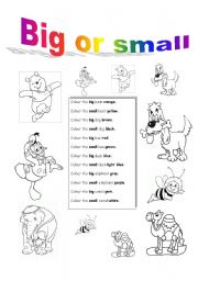 Esl kids worksheets big or small