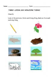 English Worksheets: Linving and Nonliving things