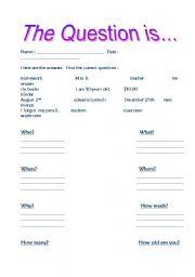 English Worksheets: Qustion word practise