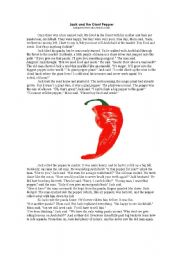 English Worksheets: Jack and the Giant Pepper
