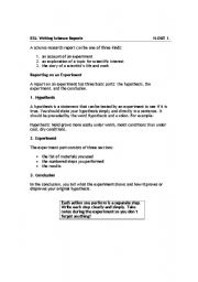 English Worksheet: Writing a Science Report