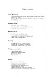 English Worksheets: TELEPHONE LANGUAGE