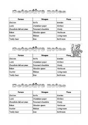 English Worksheet: Easter cluedo (Who killed the Easter bunny) - game for Easter