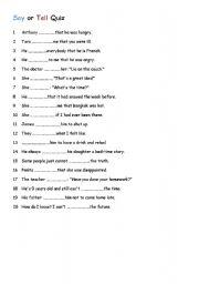English Worksheets: say or tell quiz