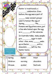 English Worksheet: Easter Egg Cloze