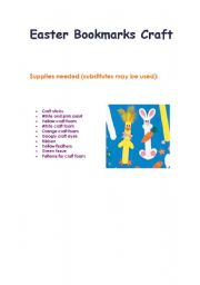 English Worksheets: Bookmark Craft