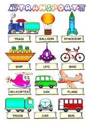 English Worksheets: Transport pictionary (B&W also)