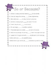 English Worksheets: So or Because