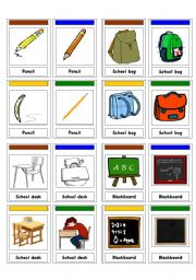 English Worksheets: Go Fish (School Items)