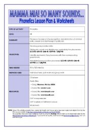 English Worksheet: MAMMA MIA! SO MANY SOUNDS � Phonetics Lesson Plan & Worksheets (12 pages, key included)