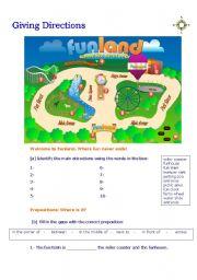 giving directions funland esl worksheet by babz. Black Bedroom Furniture Sets. Home Design Ideas
