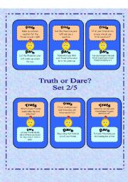 English Worksheet: Truth or Dare? -  Set 2/5